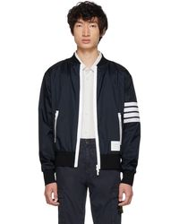 online store 49069 b9433 Thom Browne - Navy Four Bar Light Weight Bomber Jacket - Lyst