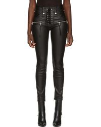 Unravel - Black Leather Lace-up Trousers - Lyst