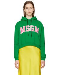MSGM - Green Embroidered College Logo Hoodie - Lyst
