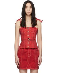 SJYP - Red Denim Button And Strap Bustier - Lyst