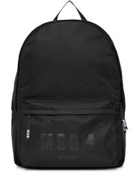 MSGM - Black Nylon Logo Backpack - Lyst