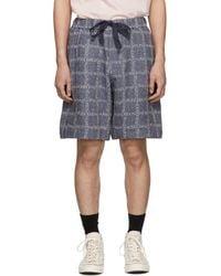 JW Anderson - Navy Logo Grid Linen Shorts - Lyst