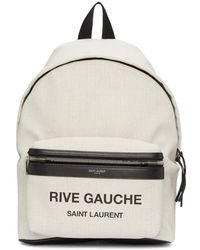 Saint Laurent - White Linen Mini City Rive Gauche Backpack - Lyst