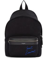 Saint Laurent - Black Embroidered Mini City Backpack - Lyst