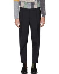 Kolor - Navy Wool Pleated Trousers - Lyst
