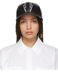 Neil Barrett - Black Leather Thunderbolt Cap - Lyst