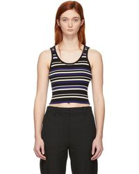 3.1 Phillip Lim - Black And Blue Multi-stripe Cropped Tank Top - Lyst