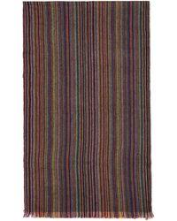 Paul Smith - Mulitcolor Striped Herringbone Scarf - Lyst