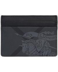 Burberry - Grey And Black London Check Ekd Card Holder - Lyst