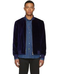 Paul Smith - Navy Velvet Bomber Jacket - Lyst