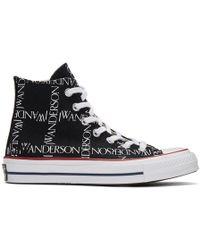 JW Anderson - Black Converse Edition Grid Logo Sneakers - Lyst