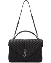 Saint Laurent - Black And Gunmetal Large University Bag - Lyst