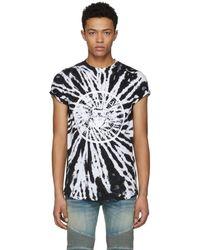 Balmain - Black And White Tie-dye Logo T-shirt - Lyst