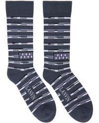 Lanvin - Grey Contrast Stripe Logo Socks - Lyst