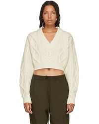 3.1 Phillip Lim - White Aran Cable Knit Back Ties Sweater - Lyst