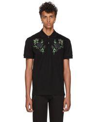 Alexander McQueen - Black Floral Pique Polo - Lyst