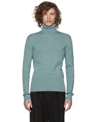 Gucci - Blue Ribbed Lurex Turtleneck - Lyst