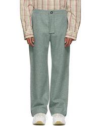 Acne Studios - Blue Wool Pleats Trousers - Lyst