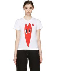 Play Comme des Garçons - White Hearts T-shirt - Lyst