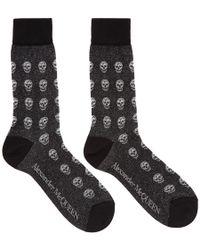 Alexander McQueen - Black Glittered Skull Socks - Lyst