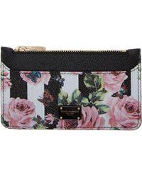 Dolce & Gabbana | Black Stripes And Floral Card Holder | Lyst