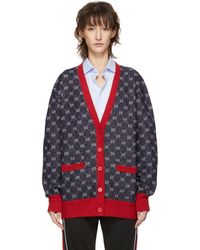 Gucci - Navy And Red Gg Cardigan - Lyst