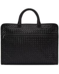 Bottega Veneta - Black Classic Intrecciato Briefcase - Lyst