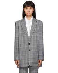 Tibi - Grey Check James Menswear Long Blazer - Lyst