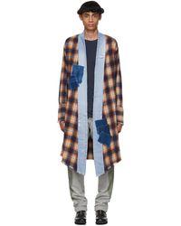 Greg Lauren - Orange And Black Plaid Long Kimono - Lyst