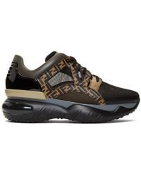 b27fe5b21ef4 Fendi - Black And Brown Forever Sneakers - Lyst