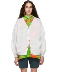 Loewe - White Cable Sleeve Cardigan - Lyst