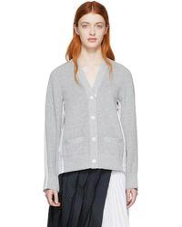 Sacai - Gray And White Paneled Cardigan - Lyst