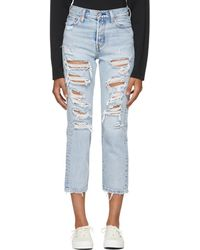 Levi's - Blue Distressed Wedgie Straight Jeans - Lyst