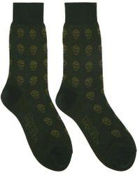 Alexander McQueen - Green Short Skull Socks - Lyst