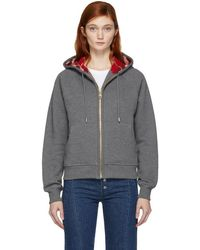 Burberry - Grey Check Lining Zip Hoodie - Lyst