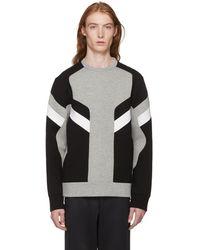 Neil Barrett - Grey And Black Zippered Modernist Sweatshirt - Lyst