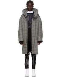 Raf Simons - Black And White Houndstooth Padded Parka - Lyst