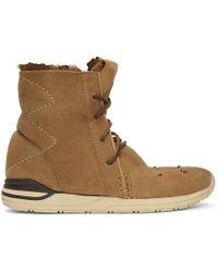 Visvim - Brown Shearling Huron Moc Hi-folk Boots - Lyst