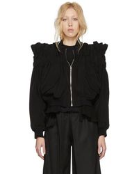Noir Kei Ninomiya - Black Gathered Back Tie Bomber Jacket - Lyst