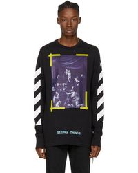 Off-White c/o Virgil Abloh - Black Long Sleeve Diagonal Caravaggio T-shirt - Lyst