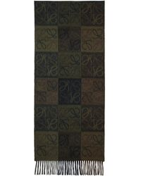 Loewe - Green And Brown Logo Anagram Scarf - Lyst