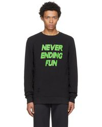 Tim Coppens - Black Never Ending Fun Printed Ma-1 Crew Sweatshirt - Lyst