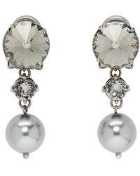 Miu Miu - Gunmetal Crystal And Pearl Clip-on Earrings - Lyst