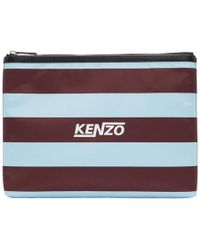 KENZO - Burgundy And Green Striped A4 Logo Pouch - Lyst