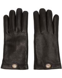 Gucci - Black Leather Logo Gloves - Lyst