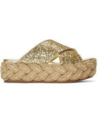 Miu Miu - Gold Glitter Criss Cross Raffla Platform Sandals - Lyst