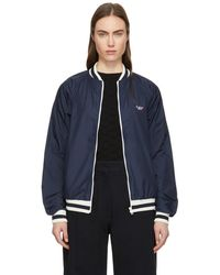 Maison Kitsuné - Navy Tricolor Fox Patch Bomber Jacket - Lyst
