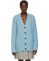 Marc Jacobs - Blue Wool Cable Knit Cardigan - Lyst