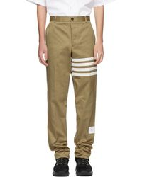 Thom Browne - Beige Seamed Four Bar Unconstructed Chino Trousers - Lyst