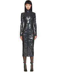 Y. Project - Black Strip Turtleneck Dress - Lyst